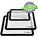 Prodigen 3 Pieces Silicone Baking Mat Non Stick Silicone Mats-Set of 3 Half Sheet Mat Silicon Liner for Macaron/Pastry/Cookie/Bun/Bread/Bake Pan for Home,Kitchen(11x16''+8x13'')