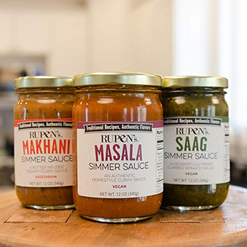 Rupen's 3 Traditional Indian Curry Sauce Pack (MAKHANI, MASALA, SAAG), 12 oz each