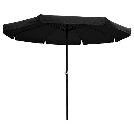 Yescom 10 ft Aluminum Outdoor Patio Umbrella w Valance Crank Tilt for Deck Market Yard Beach Pool Cafe Black