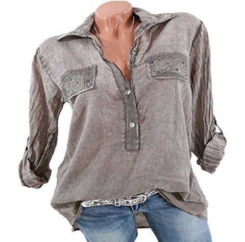 Tee Automne Tops et Chemisiers Shirts JackenLOVE Casual Lache Printemps Longues Manches Revers Hauts Mode Kaki Blouse Femmes F8E7qw1
