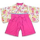 ベビー 赤ちゃん 袴風 カバーオール ロンパース 女の子 全開き ピンク 70cm 10657606PI70