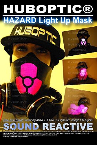[Hazard Light Up Mask - Dancers Mask - Dj Mask - Rave Mask - Style Gas Mask - Robot Dancer Mask LED Costume Party] (Biohazard Costumes)