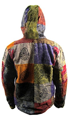Little Kathmandu Herren Stonewashed Sun Moon Symbole Velcro Baumwolle Patchwork Hippie Boho Funky Jacke Kapuzenpullover