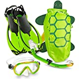 Mares Italian Collection Premium Youth Sea Pals Character Kids Mask Fin Snorkel Set Snorkeling Gear - Ultra-Clear Tempered Glass Lens Snorkeling Set (Lime, Small/9-13)