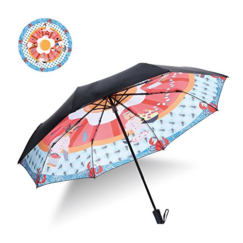 Teamyo Creative Illustration Style Tri-folded Windproof Double Layer UV Protection Travel Umbrella Manual Lightweight for Children and Girls, Perfect Gift (black cook)