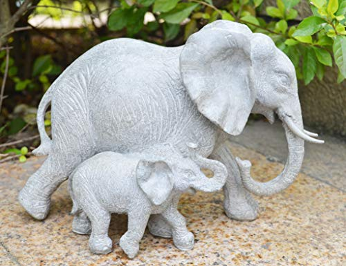 - ShabbyDecor Polyresin Elephant Statue Decoration,Size 9x4.5x6.2 Inch,Grey White Color