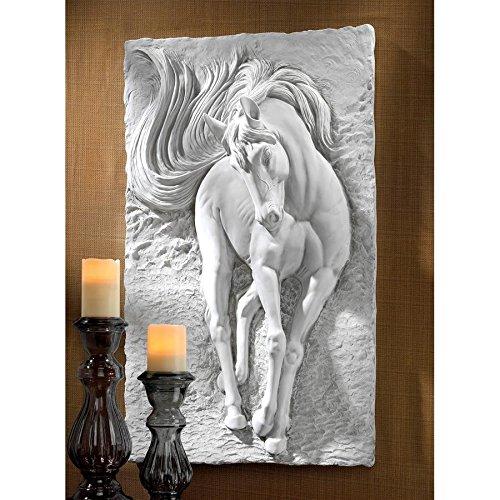 Design Toscano Equine Grandeur Horse Wall Sculpture, 36 Inch, Polyresin, Antique Stone