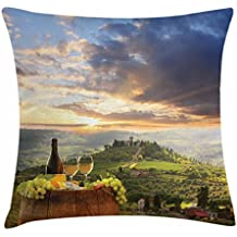 Lunarable Winery Throw Pillow Cushion Cover, Vineyard in Chianti Tuscany Italy Autumn Sunrise Dramatic Clouds, Decorative Square Accent Pillow Case, 40 X 40 Inches, Lime Green Pale Blue Yellow