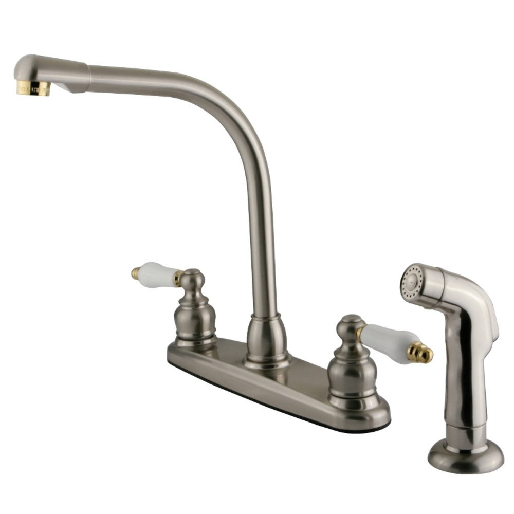 Oil Rubbed Bronze Kingston Brass GKB715AXSP Victorian 8-inch High Arch Kitchen Faucet with Sprayer