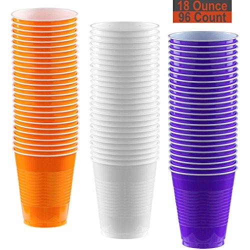 18 oz Party Cups, 96 Count - Pumpkin Orange, White, Purple - 32 Each Color