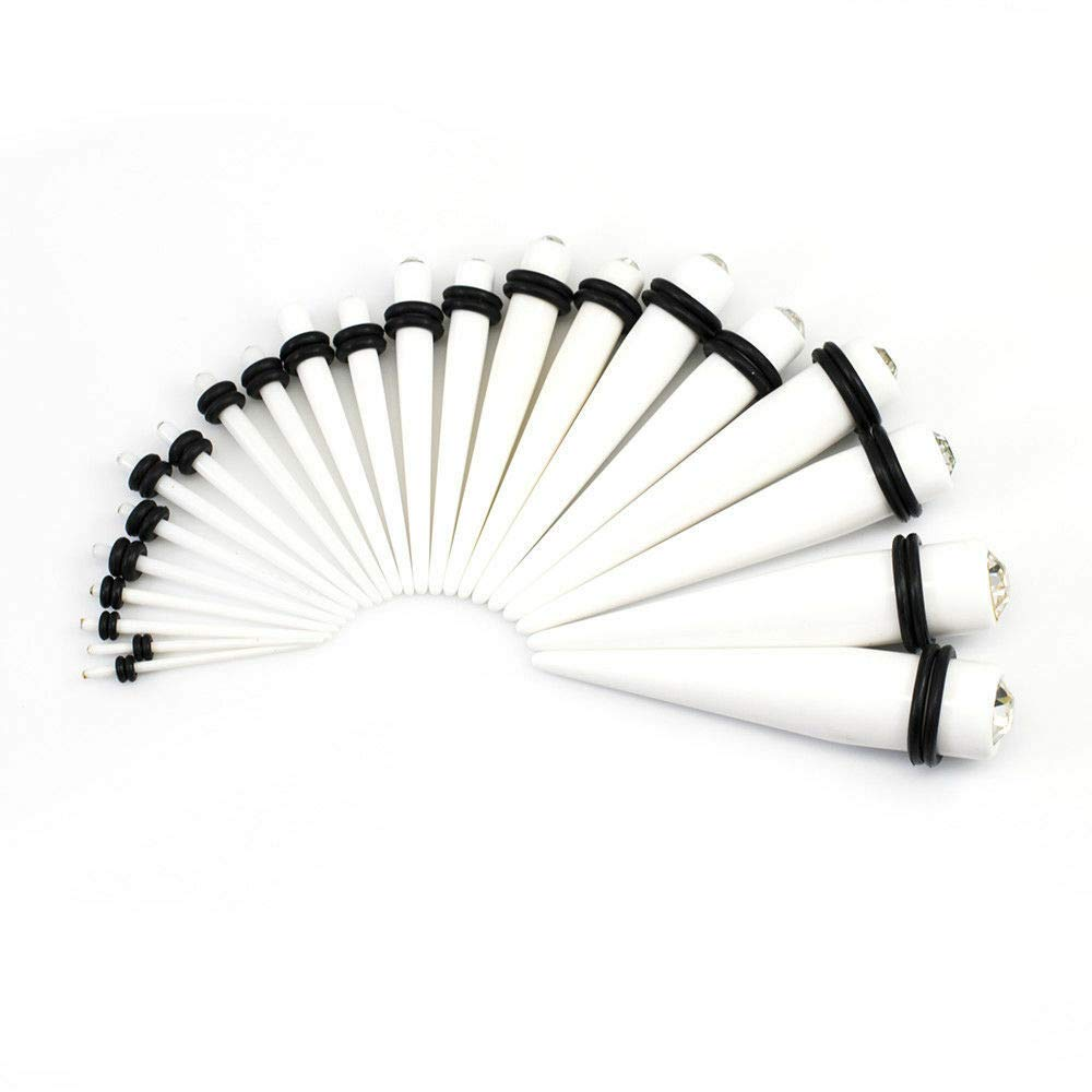 EG GIFTS White Ear Tapers Kit 16g 7//16 Inch Acrylic with Clear Jewel