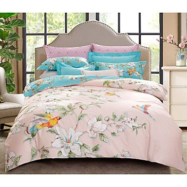 DB&PEISHI Floral / Botanical 4 Piece Cotton Cotton 4pcs (1 Duvet Cover, 1 Flat Sheet, 2 Shams) , light pink , queen