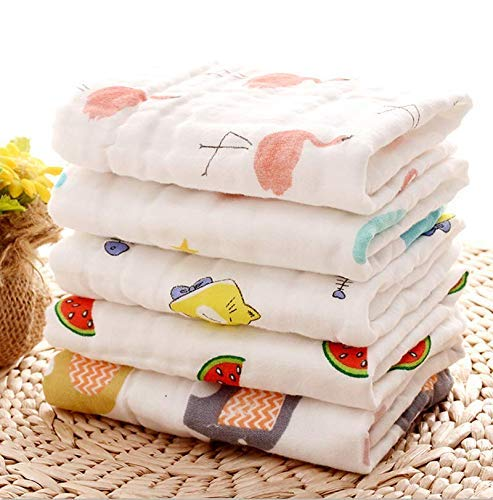 Mom Cares Face Towels for Newborn Baby,Muslin Cloth for Babies, Extra Soft Hankies,Organic Cotton Reusable Napkins,Ideal for Infants Toddlers (Pack of 5) White