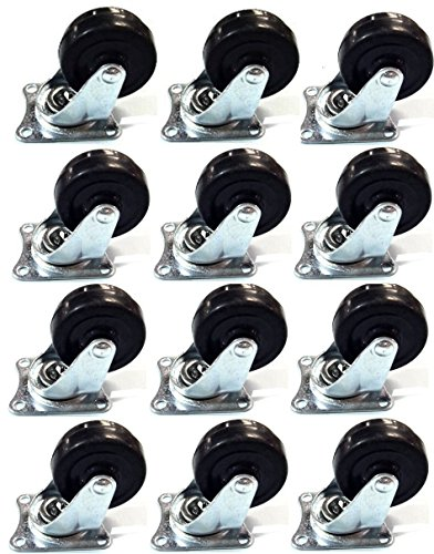 "MegaDeal AC201710300001 12 Pack 2"" Swivel Caster Wheels Rubber Base with Top Plate & Bearing Heavy Duty"