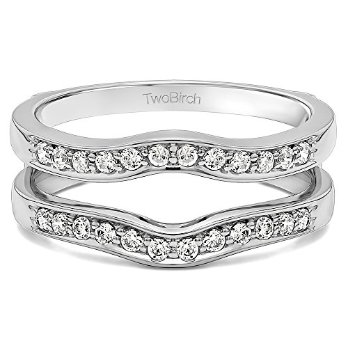 TwoBirch 0.43 ct. Charles Colvard Created Moissanite Contour Shape Channel Set Enhancer Ring Guard in Sterling Silver (3/8 ct. twt.)
