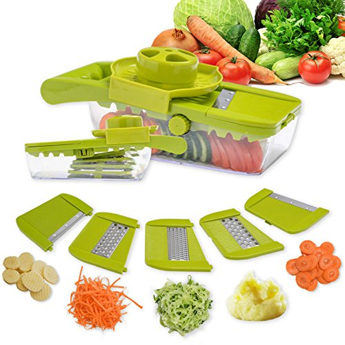 Joymee Kitchen Cooking Gadgets Set, Vegetable Slicer,Adjustable Mandoline Food Slicer, 5 Interchangeable Stainless Steel Blades, Safety Holder.(Green)