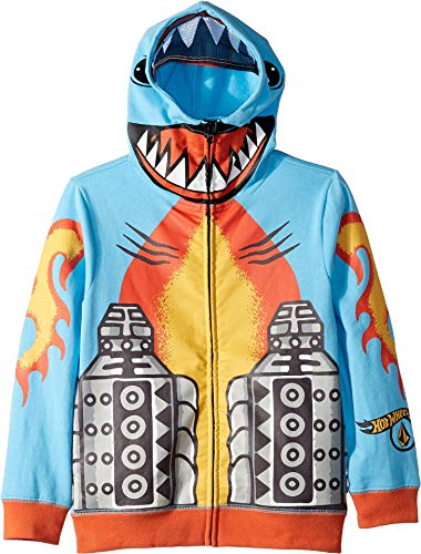 (Volcom Kids Baby Boy's Hot Wheels(r) Shark Cruiser Zip Fleece (Toddler/Little Kids) Light Blue)