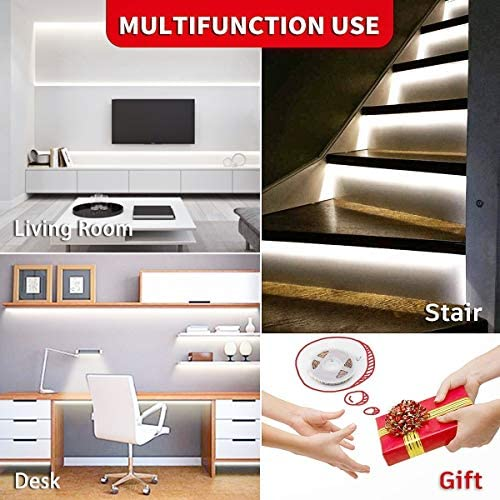 Led Strip Lights 16.4 Feet Dimmable White Led Light Strip Flexible Led Tape Light 12v Under Cabinet Lighting Kits with ETL Power Supply, Adhesive Clips, Dimmer Switch and Connectors