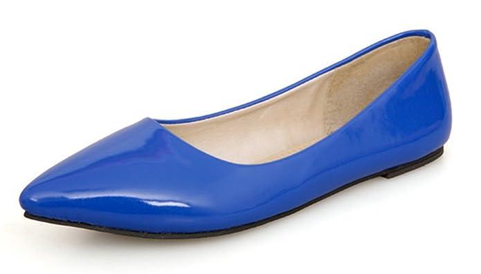 Aisun Damen Spitz Geschlossen Süß Lackleder Flach Schuhe Blau 45 EU 6FjEyPvrw