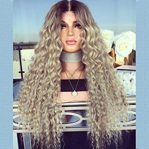 Gray None Lace Front Wigs Ombre Blonde Long Small Curly Wavy Synthetic Wigs For Black Women Density Wigs (a)]()
