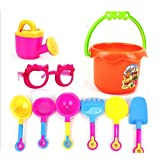 Baby Beach Play Accessories Sand Toy Set Sand Castle Play Bucket Random Color with Mesh Bag (Barrel Set, Pack of 9)