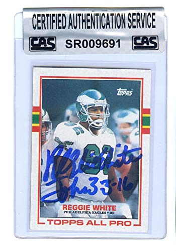 Reggie White Philadelphia Eagles Signed Autographed 1989 Topps #108 Football Card CAS Certified