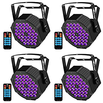 Image of Home Improvements Black Light Baisun 36 UV LED Stage Lights By Remote And DMX Controller For Halloween Wedding Christmas Party (4 Pack)