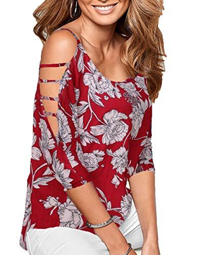 DREAGAL Women's Loose Hollowed Out Shoulder Floral Print Blouse Tops N5# -
