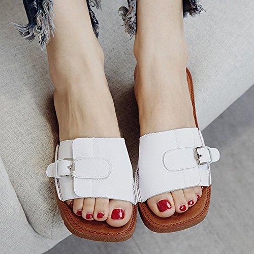 Zapatos Aleatorio Verano Blanco Blanco Mujer Eu36 Tamaño uk4 cn36 color Playa amp;chanclas Zapatillas Partido Negro Sandalias Xia q8tXw7T