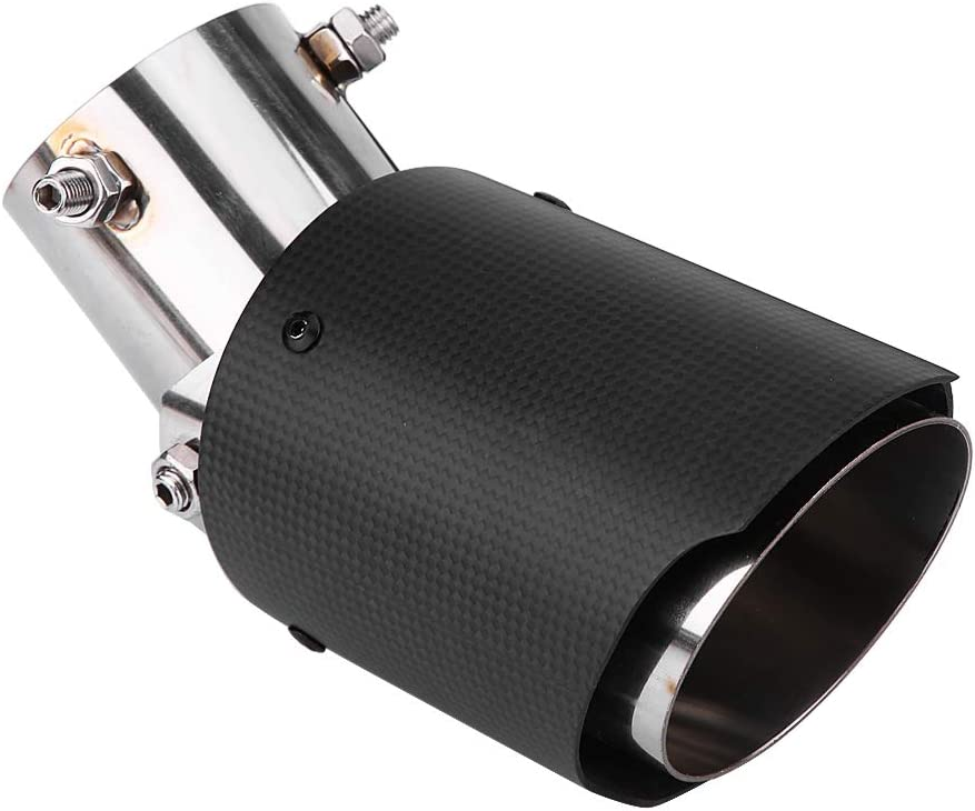 Cuque Rear Exhaust Muffler Pipe Tail pipe Automobiles Carbon Fiber Style Matte Car Adjustment Exhaust Pipe Muffler End Tip Tailpipe for 60.5mm 89mm