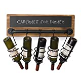 MyGift 5-Bottle Industrial Wood & Pipe Design Wall Mounted Wine Bottle Rack with Chalkboard Label