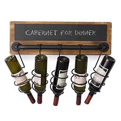 MyGift 5-Bottle Industrial Wood & Pipe Design Wall Mounted Wine Bottle Rack with Chalkboard Label ()