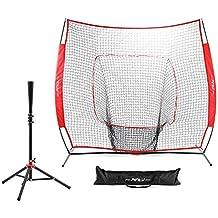 Pinty Baseball and Softball Practice Net 7'×7'/7'×4' Portable Hitting Batting Training Net with Carry Bag & Metal Frame + Baseball Softball Batting Tee