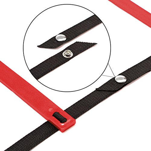 TOOGOO(R) 10 Feet Agility Speed ladder Soccer Training ladder Quick 7 Flat Rung Speed Ladder Red