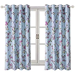 "Room Darkening Curtains for Girl's Room -Lucky Bird Vintage Printed Window Drapes with Flower Patterns, Metal Grommets Top, 2 Panels (52"" Wx63 L, Blue)"