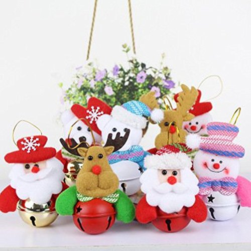 (Set of 8 Christmas Tree Jingle Bells Ornaments Decorations Colored Bell Snowman Santa Claus Elk Hanging Pendants for Home)