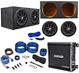 Package: (2)KICKER 43C154 Comp 15''Car Sub Totaling 1200W W/Single Voice Coil+Mono Amp+Complete Wire Kit W/RCA Cables+Sealed Sub Enclosure+Dual Enclosure Wire Kit W/Speaker Wire+Screws+Spade Terminals
