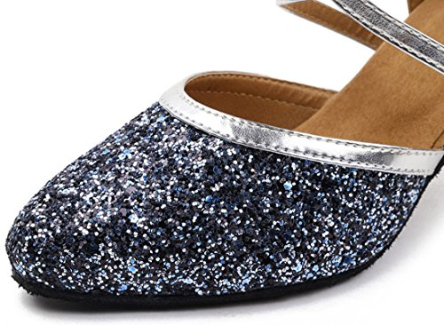 Blue Ballroom Latin Honeystore Shoes Womens Sequins Toe Dance Closed Glitter 4wFqB