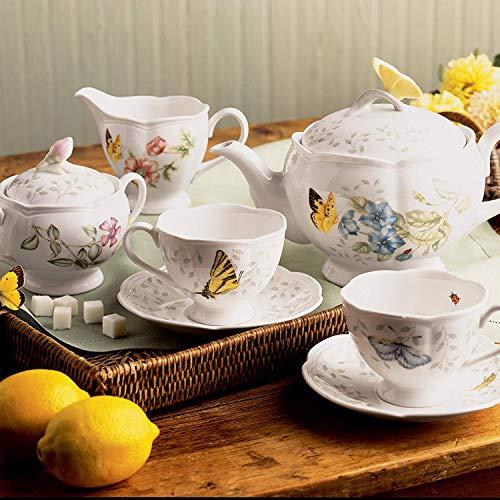 Lenox Butterfly Meadow 7-Piece Tea Set, Teapot Sugar Creamer 2 Cups 2 Saucers New ()