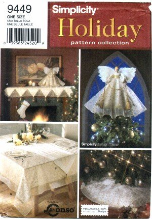 Simplicity 9449 Holiday Sewing Pattern Christmas Mantel Scarf Stocking Angel Treeskirt Tablecloth