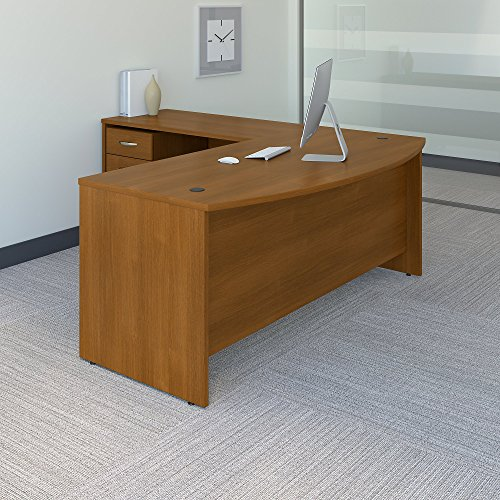 Bush Business Furniture Series C 72W Bow Front L Shaped Desk with 48W Return and Mobile File Cabinet in Warm Oak