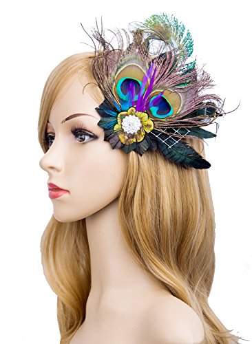 Cizoe 1920s Gatsby Acessories Peacock Costume Hair Clip With Feather Pearl 1920 Flapper Headpiece (Beautiful Bride Adult Costumes)