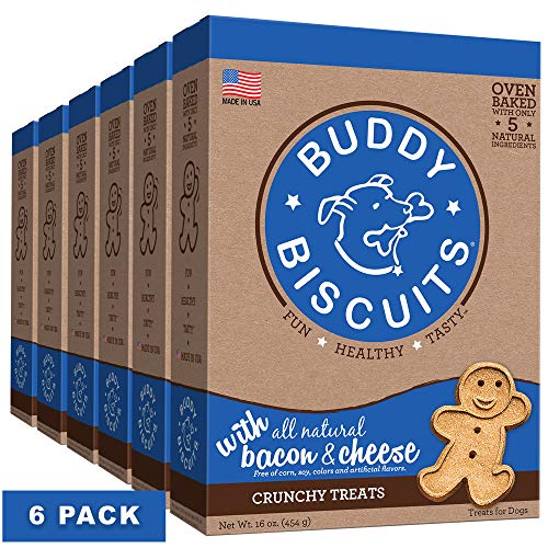 Buddy Biscuits Oven Baked Treats with Bacon & Cheese - 16 oz. (6 PACK)