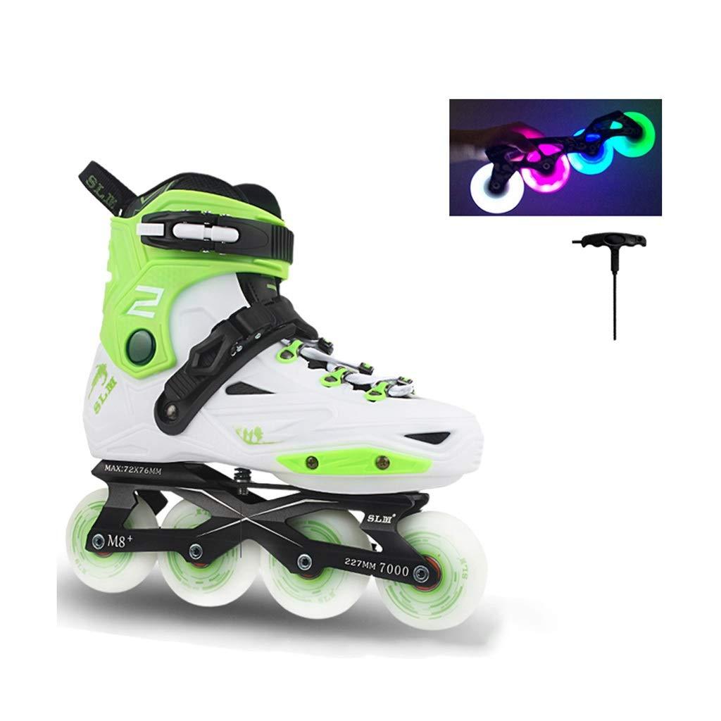 JIANXIN インラインスケート、女性、青少年、初心者用スケート、白と緑に適したホイールローラーダービースケートを大人のライトアップ 41  B07SWXBVF9