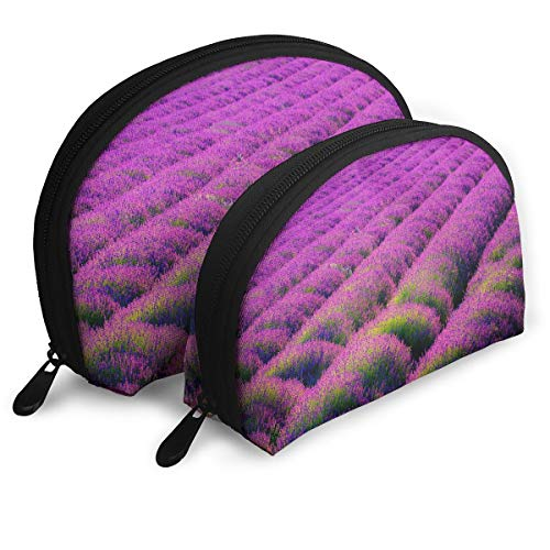Portable Shell Makeup Bag Clutch Toiletry Pouch Popular Lavender Pattern Travel Storage Bag Phone Purse Set Of 2
