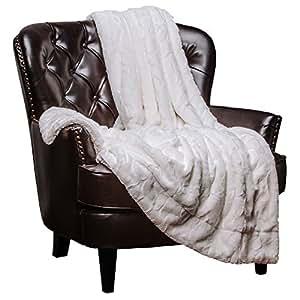 "Chanasya Faux Fur Bed Throw Blanket - Super Soft Hypoallergenic Luxury Fuzzy Cozy Warm Fluffy Beautiful Color Variation Print Plush Sherpa Microfiber Off White Blanket (50"" x 65"") - Off White"