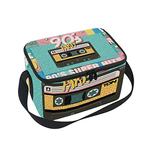 Premium Lunch Bag/Ice bag with Shoulder Strap 90S Music Mix Trendy Retro Style | Lunch Box for Adults, Kids | Soft Leak Proof Liner |Lunch Cooler for Office, School