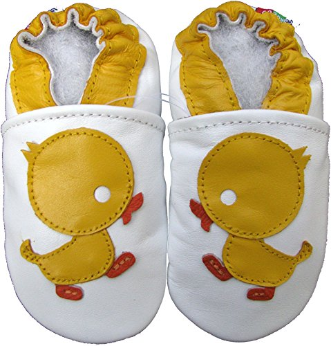 Carozoo Baby Girls' Duck Soft Sole Leather Shoes White (4-5 years)