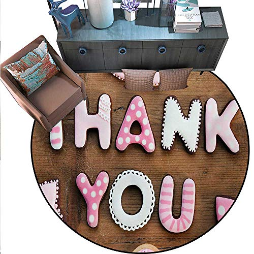 Thank You Non-Slip Round Rugs Romantic Sweet Cookie Letters Sugar Candy on a Rustic Wood Table Image Living Dinning Room Bedroom Rugs (75