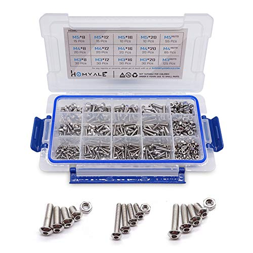 (304 Stainless Steel Screw and Nut 515pcs, M3 M4 M5 Metric Socket Head Bolt and Nut Assortment Set )